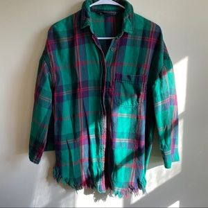 Zara Size XS Button Down Green Plaid Shirt